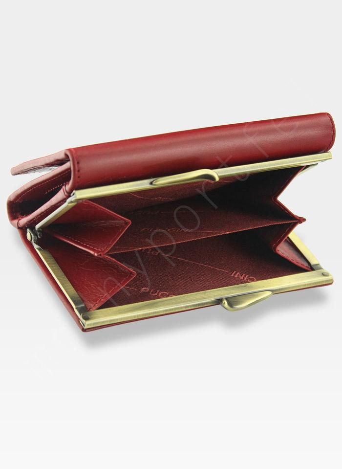 Portfel Damski Skórzany PUCCINI Klasyczny Czerwony z Biglem 1950P Średni