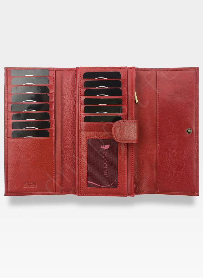 Portfel Damski Skórzany PUCCINI Rozbudowany Czerwony 1680125P