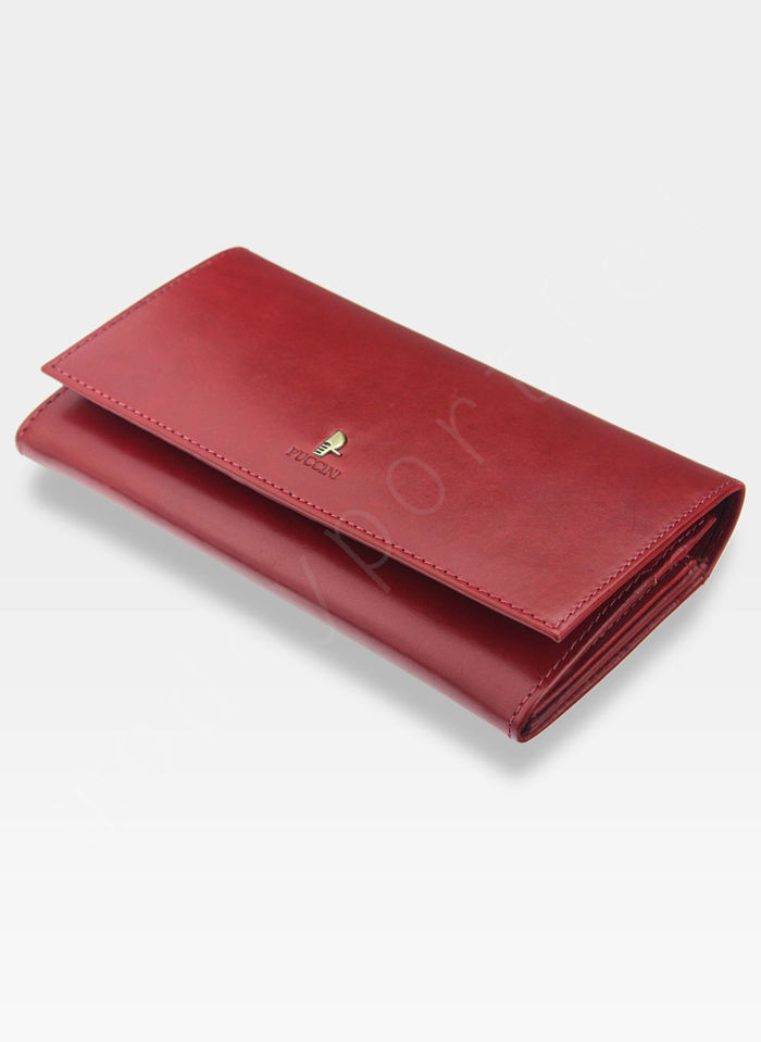 Portfel Damski Skórzany PUCCINI Rozbudowany Czerwony 1705P