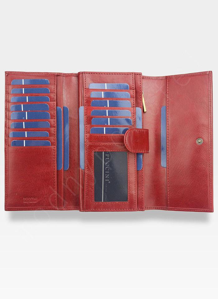Portfel Damski Skórzany PUCCINI Rozbudowany Czerwony MU1680125