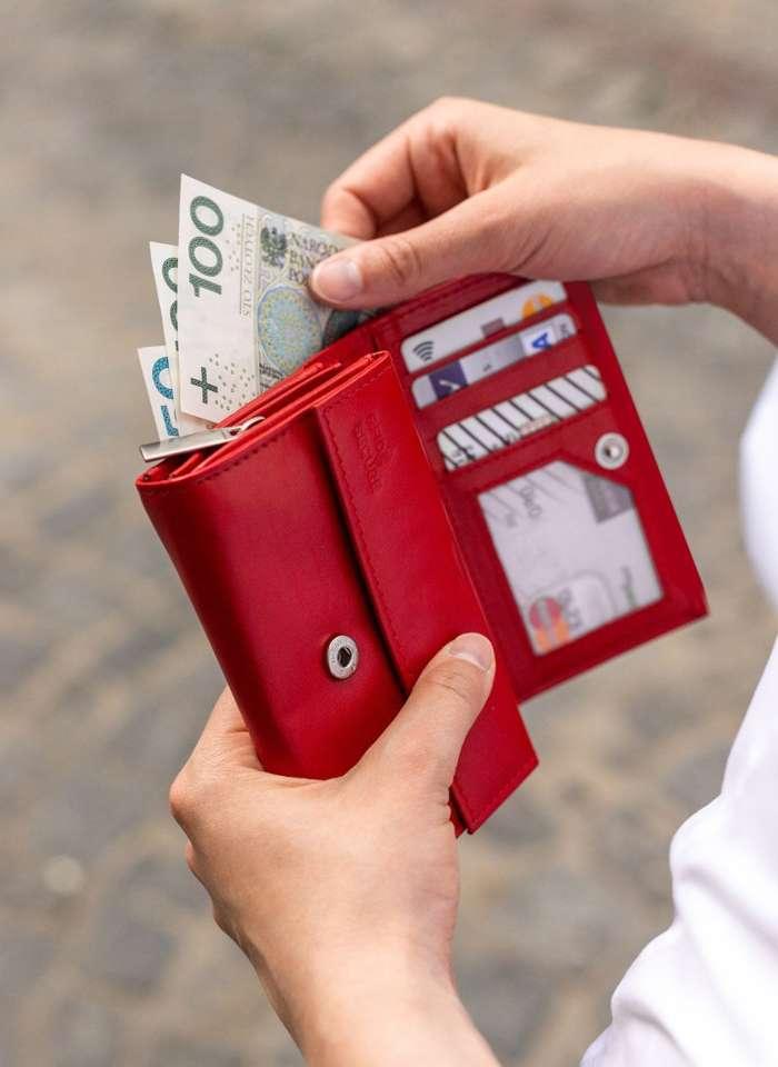 Portfel Damski Skórzany STEVENS Czerwony z Zabezpieczeniem RFID