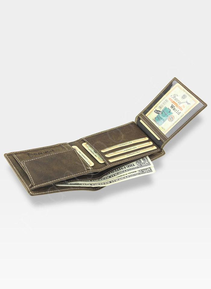 Portfel Męski Peterson Skórzany 347 Jasny Brąz RFID STOP