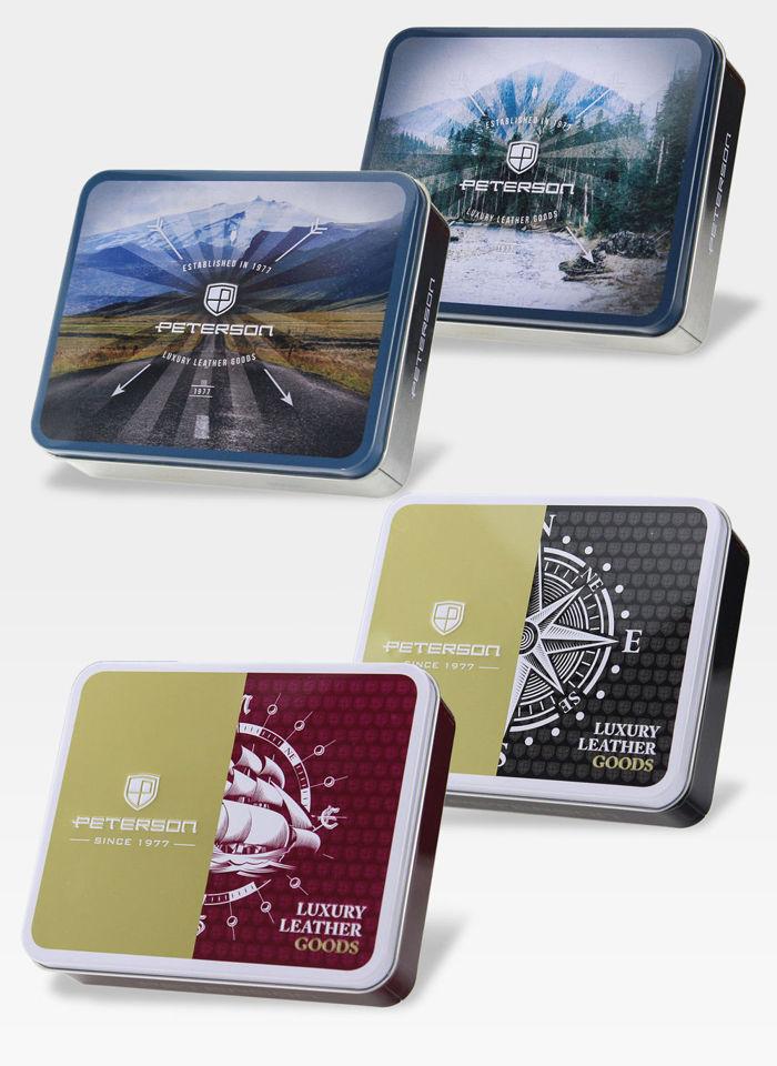 Portfel Męski Peterson Skórzany 348 Mieści Dowód Rejestracyjny w Etui System RFID Brązowy!