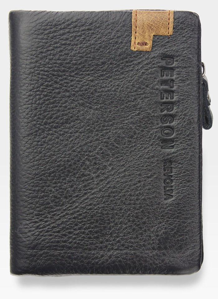 Portfel Męski Peterson Skórzany Miękki Skóra Naturalna SD Card 8102 Czarny