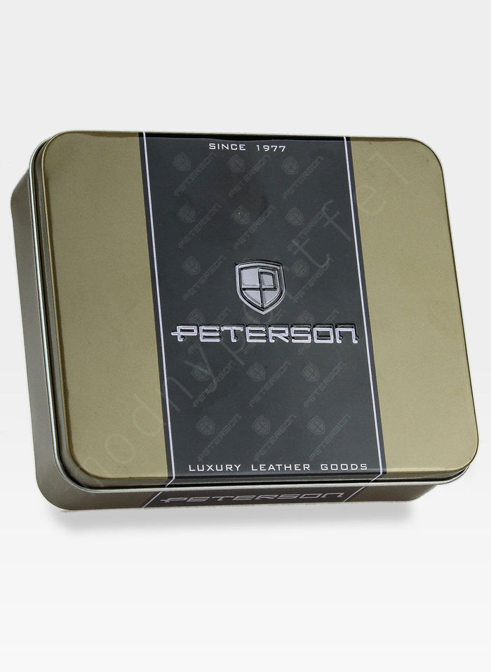 Portfel Męski Peterson Skórzany Rozbudowany 3 elementy z wyciąganą wkładką 313 Ciemny Brąz