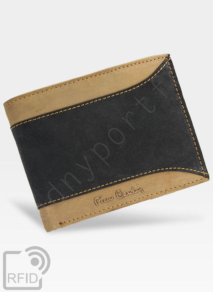 Portfel Męski Pierre Cardin Skórzany Czarny + Brązowy Poziomy HUNTER 325 Wbudowana ochrona RFID