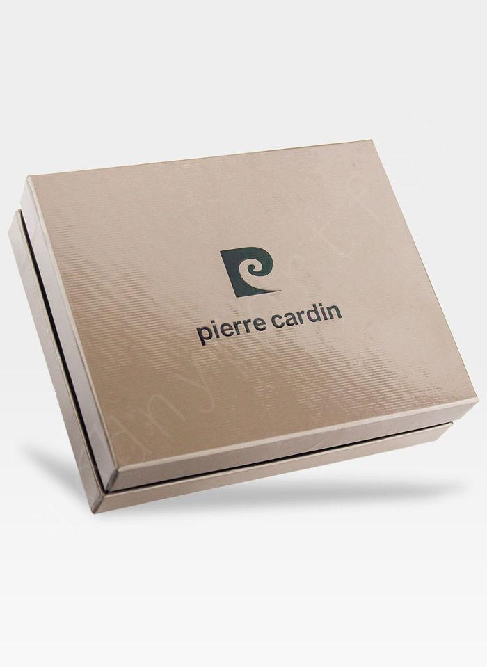 Portfel Męski Pierre Cardin Skórzany Zapinany Czarny Poziomy Skóra Przeplatana RFID CMP 324A