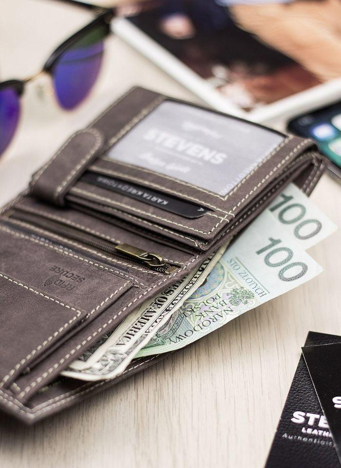 Portfel Męski Skórzany STEVENS Ochrona RFID Brązowy