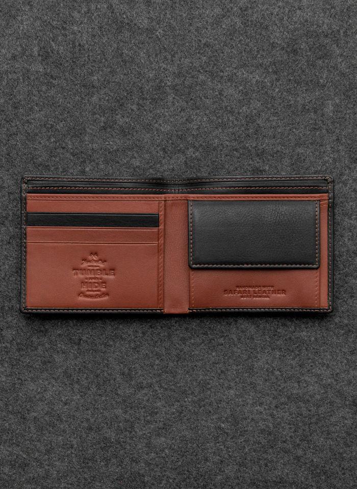 Tumble And Hide Bezpieczny Portfel Męski Skórzany Czarno Brązowy Zapinany RFID 2089 46 14