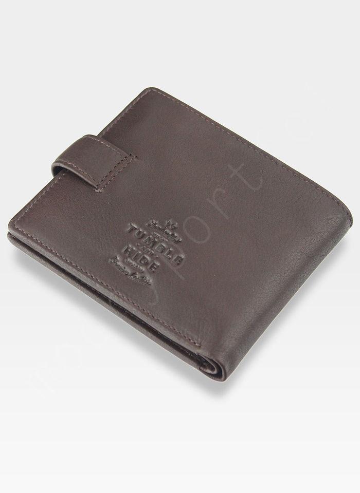 Tumble and Hide Bezpieczny Portfel Męski Skórzany Brązowy Zapinany RFID 2241 17 2