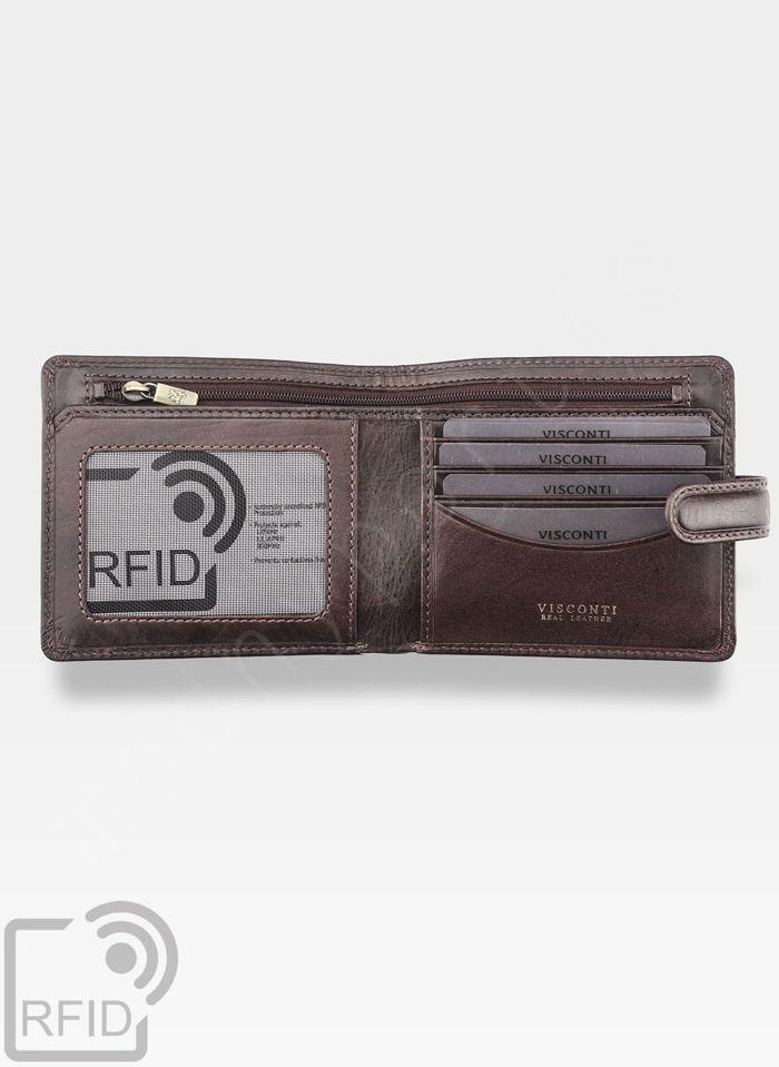 Viscont Bezpieczny Portfel Męski Skórzany Ciemny Brąz RFID TSC41
