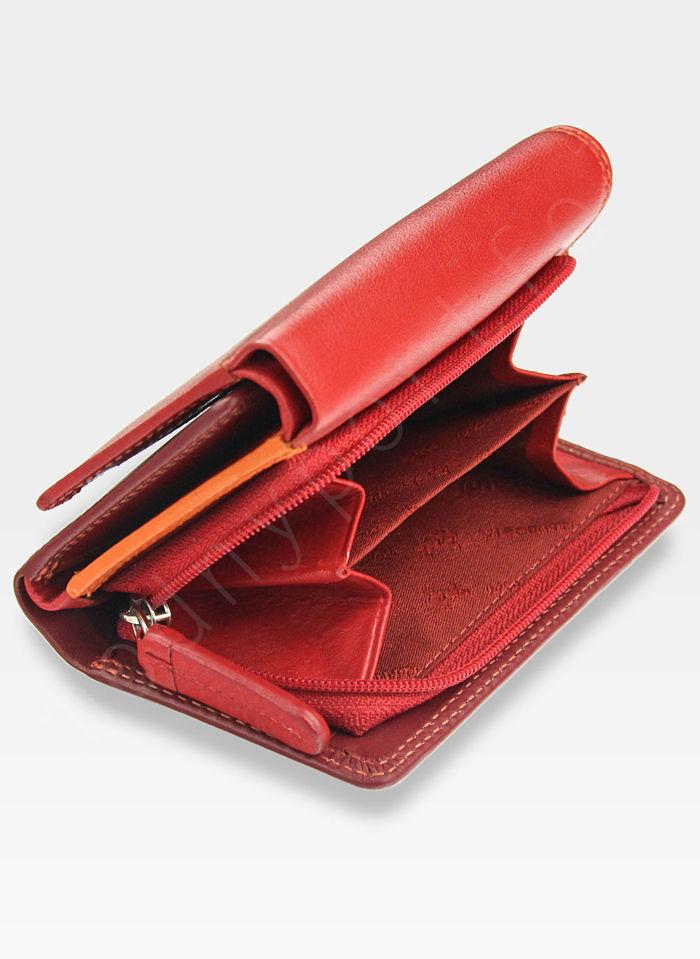 Visconti Portfel Damski Skórzany RAINBOW RB39 Czerwony Multi