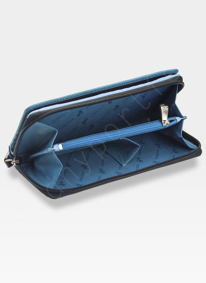 Visconti Portfel Damski Skórzany RAINBOW RB55 Niebieski Multi