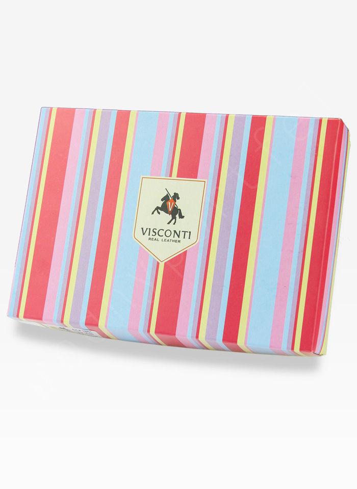 Visconti Portfel Damski Skórzany Rainbow RB40 Jagoda Multi