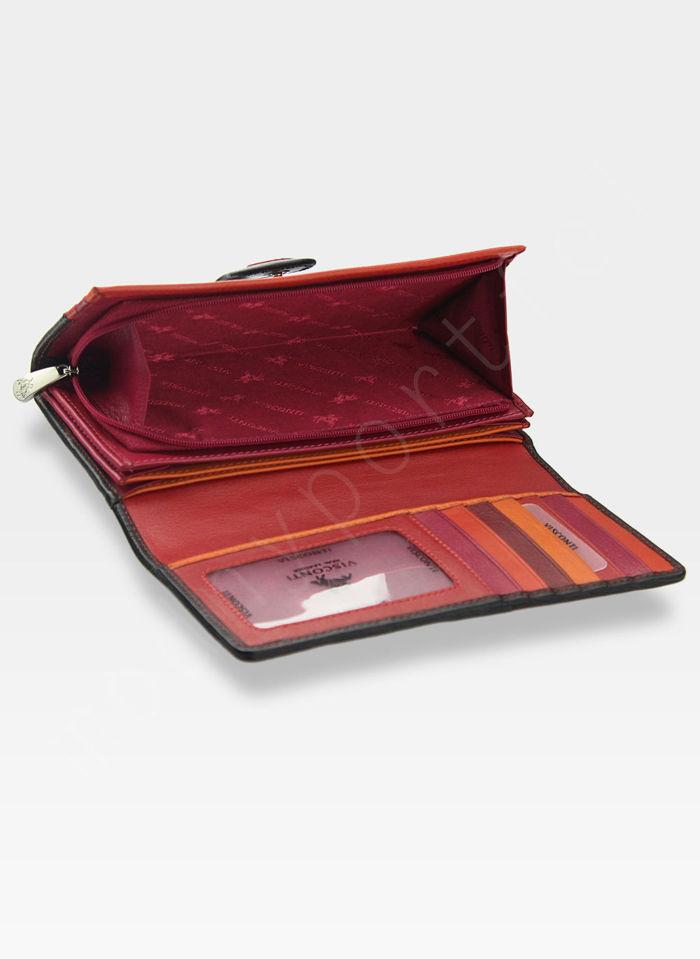 Visconti Portfel Damski w Kropki P2 Czerwony Multi