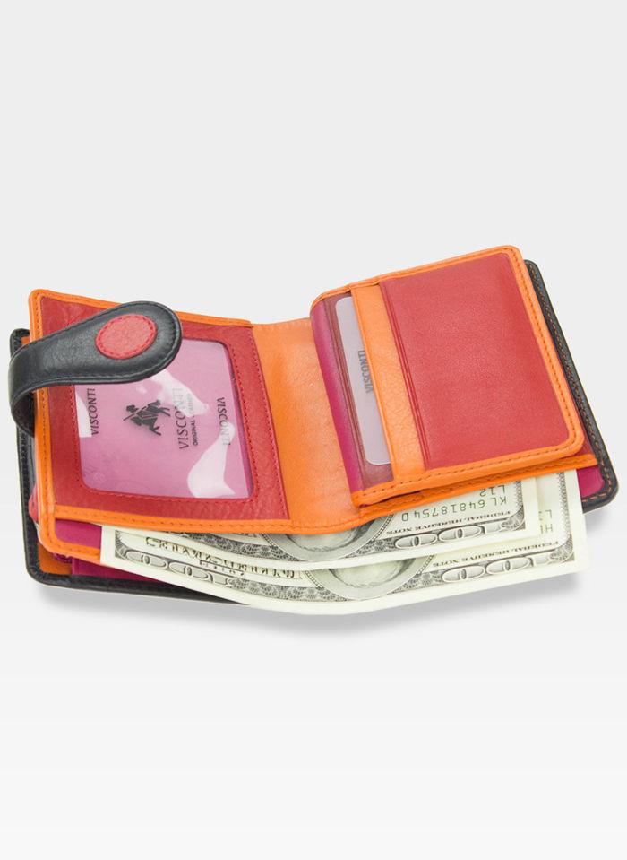 Visconti Portfel Damski w Kropki P3 Czerwony Multi