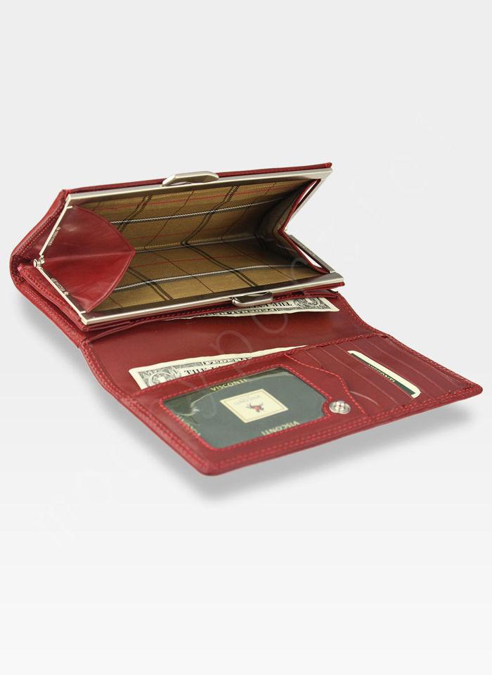Visconti Portfel Skóra Włoska MONZA Skórzany Skóra Naturalna MZ12 Czerwony
