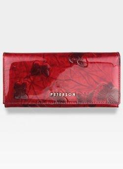 Portfel Damski Skórzany PETERSON 467 Czerwone Motyle Lakierowane