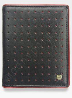 Portfel Męski Peterson Skórzany 302 Czerwone Dziurki