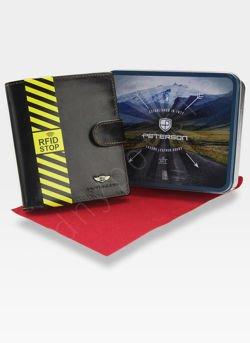 Portfel Męski Peterson Skórzany Zapinany System RFID STOP Ciemny Brąz 301