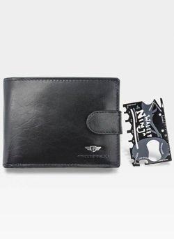 Portfel Skórzany Męski Peterson 334 + Ninja Card Zestaw Na Prezent